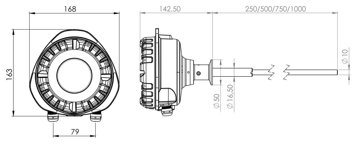 Sintrol dust monitor tabel dimensions s201 s203 1250x507
